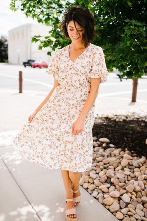 Romantic Rose Bud Midi Dress