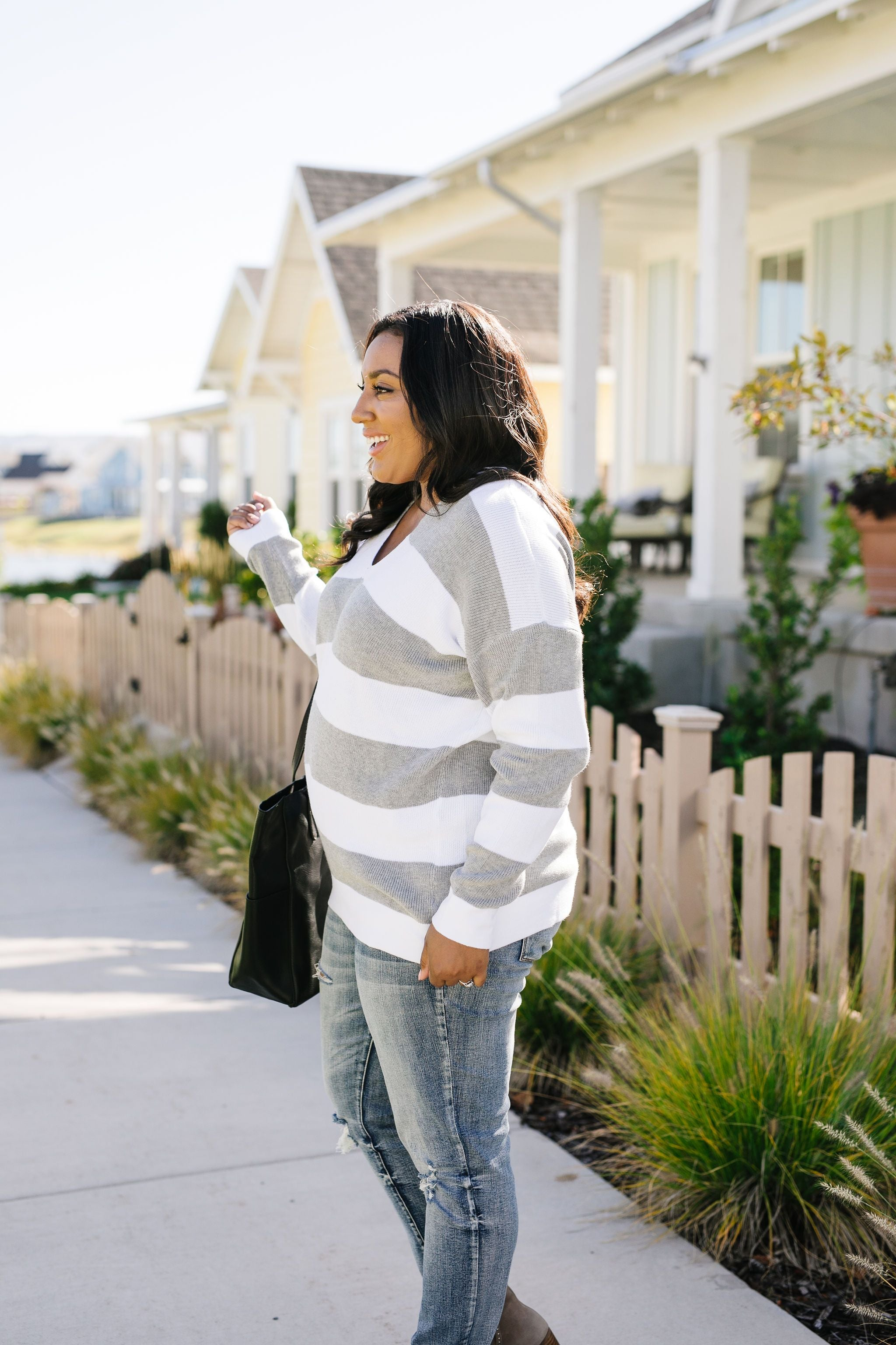 Room With A View Striped V-Neck Sweater