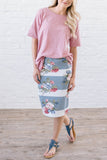 Rose Striped Skirt
