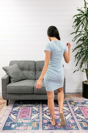 Ruched T-Shirt Dress In Aqua