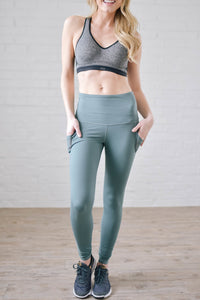 Running The World Leggings In Dusty Teal