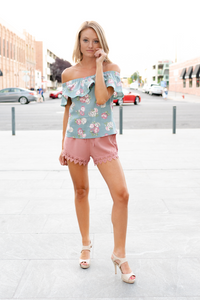 Sage Floral Off Shoulder Top