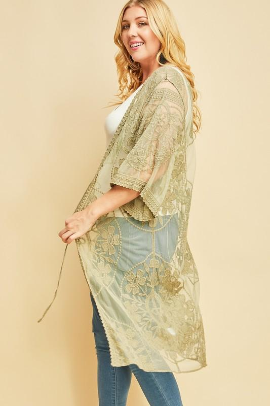 Starving Artist Crochet Lace Kimono In Light Olive - ALL SALES FINAL
