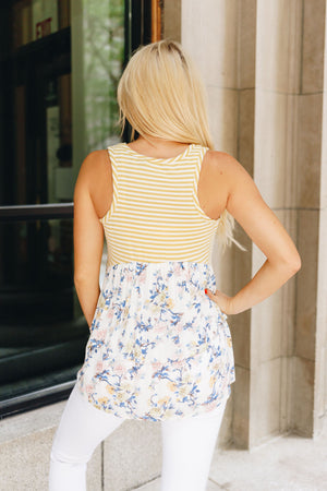 Striped And Flowered Tank