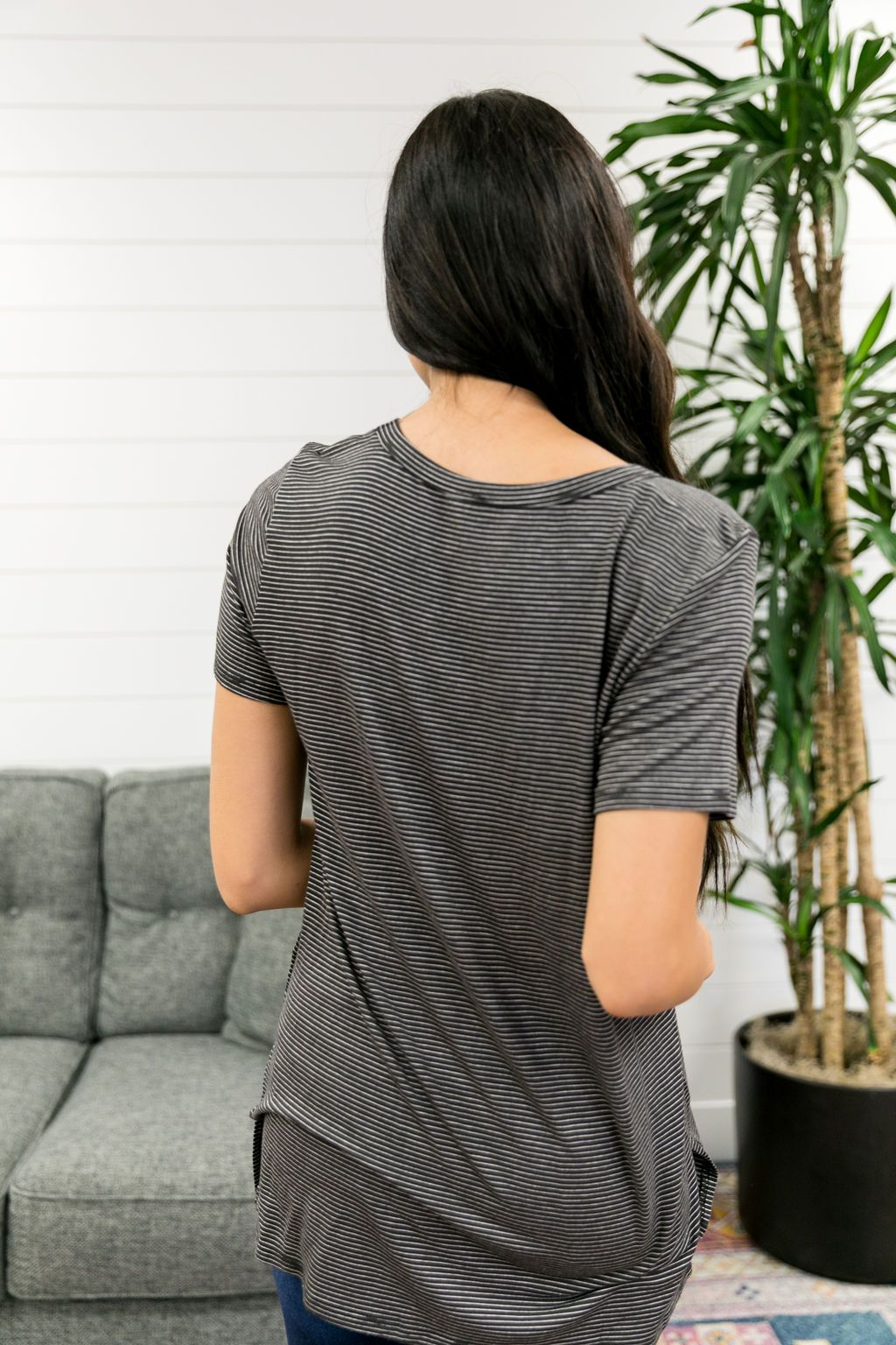 Subtle Stripe V-Neck Tee In Ash Black