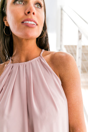 Sunday Brunch Halter In Dusty Mauve