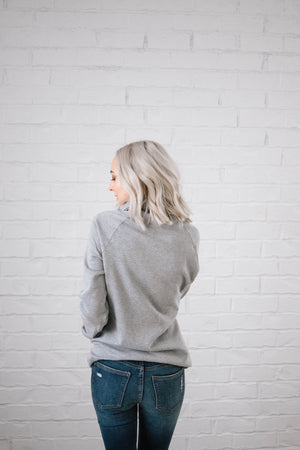 Sunday Funday Cowl Neck Sweatshirt in Light Gray