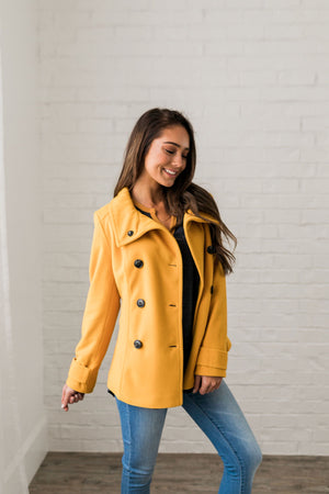 Sunshine Yellow Peacoat - ALL SALES FINAL
