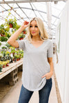 Swiss Dot V-Neck In Gray