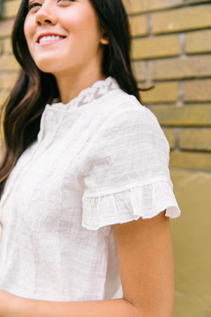 Sybil Lace Button-Down Blouse