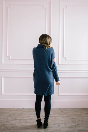 The Brighton Cowl Neck Tunic in Denim Blue