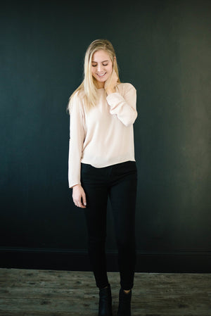 The Evelyn Drape Blouse in Taupe