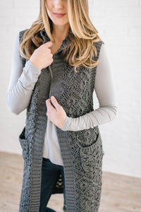 The Haley Hooded Sweater Vest in Charcoal