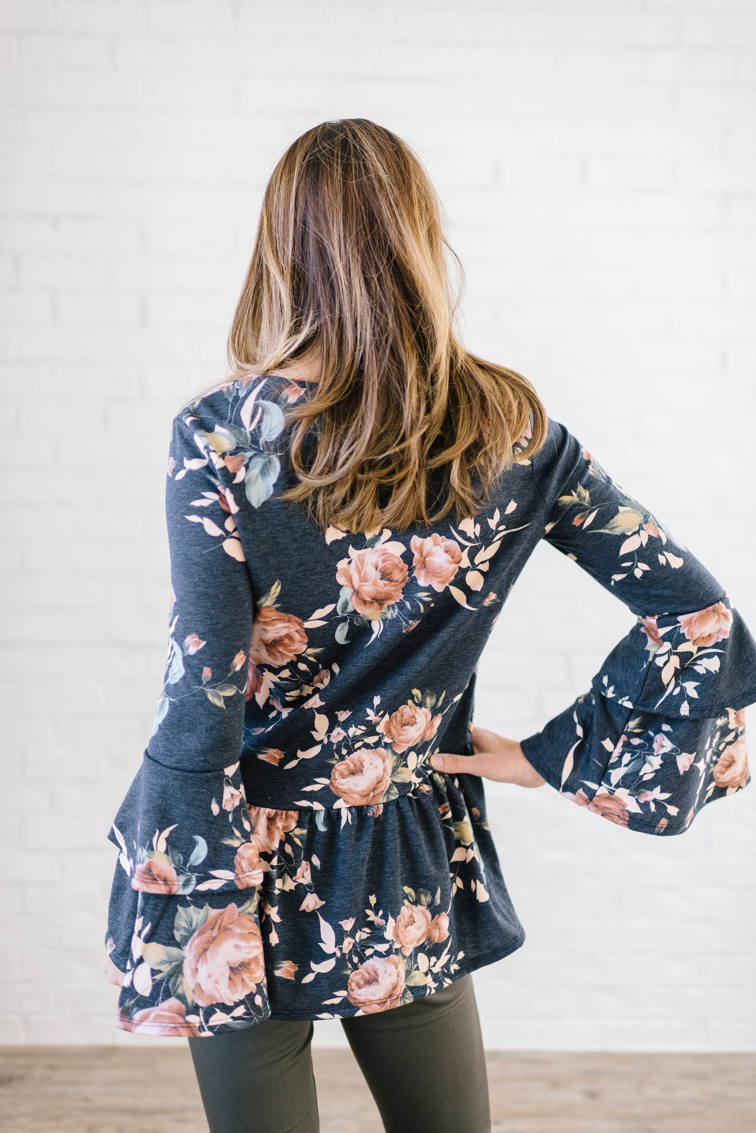 The Sadie Floral Bell Sleeve Top in Blue - Warehouse Sale