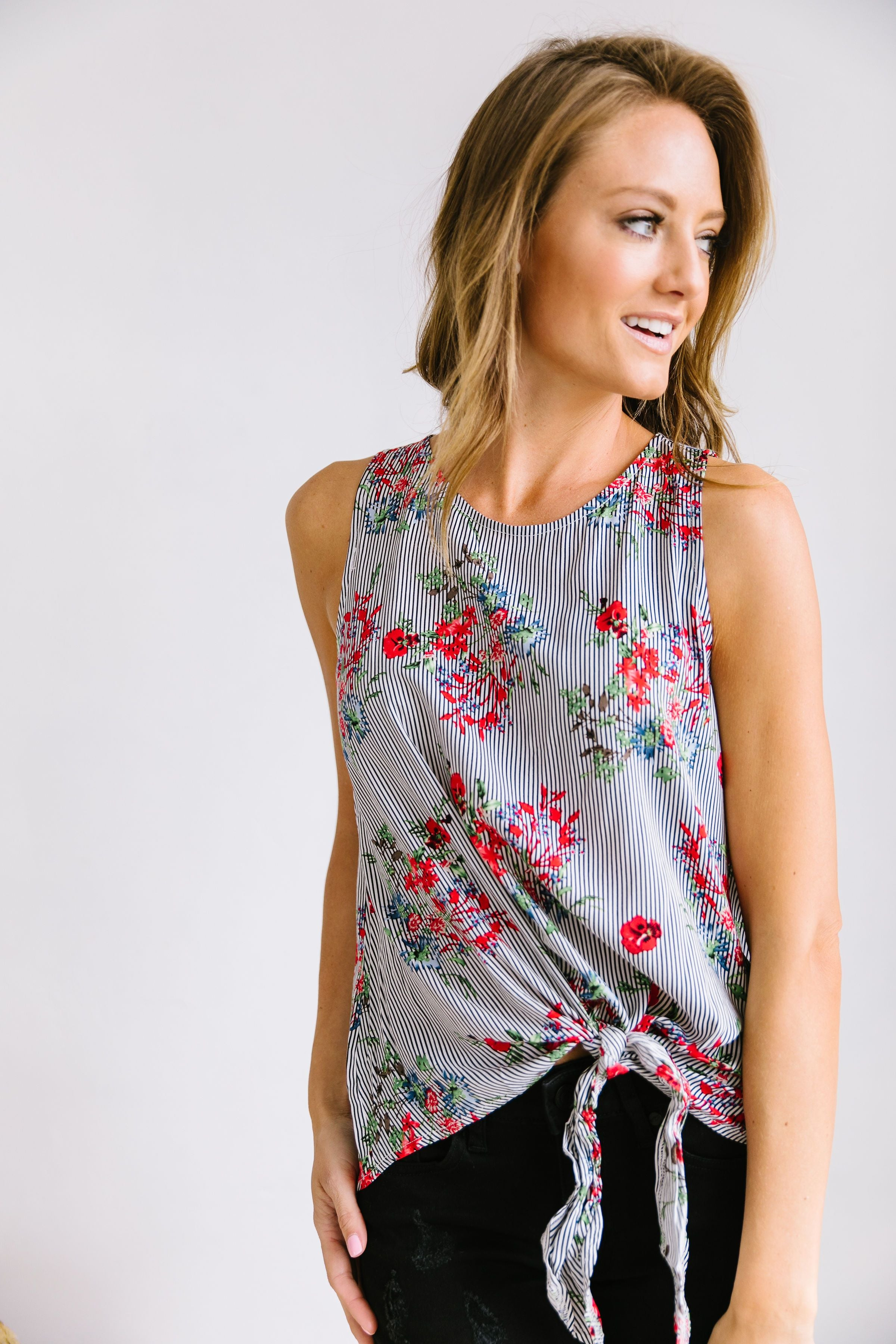 Tie-Front Flowers And Stripes Top