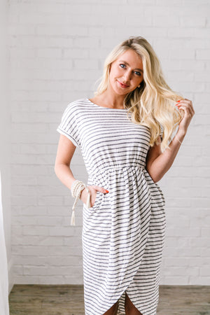 Tulip Hem Striped T-Shirt Dress