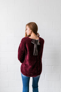 Velvet Ties Fuzzy Sweater - ALL SALES FINAL