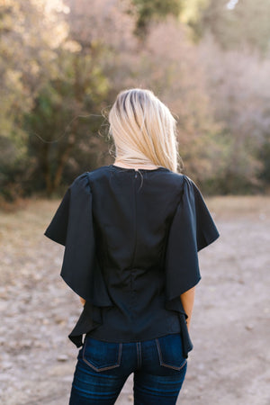 Wing And A Prayer Ruffle Sleeve Blouse in Black - ALL SALES FINAL