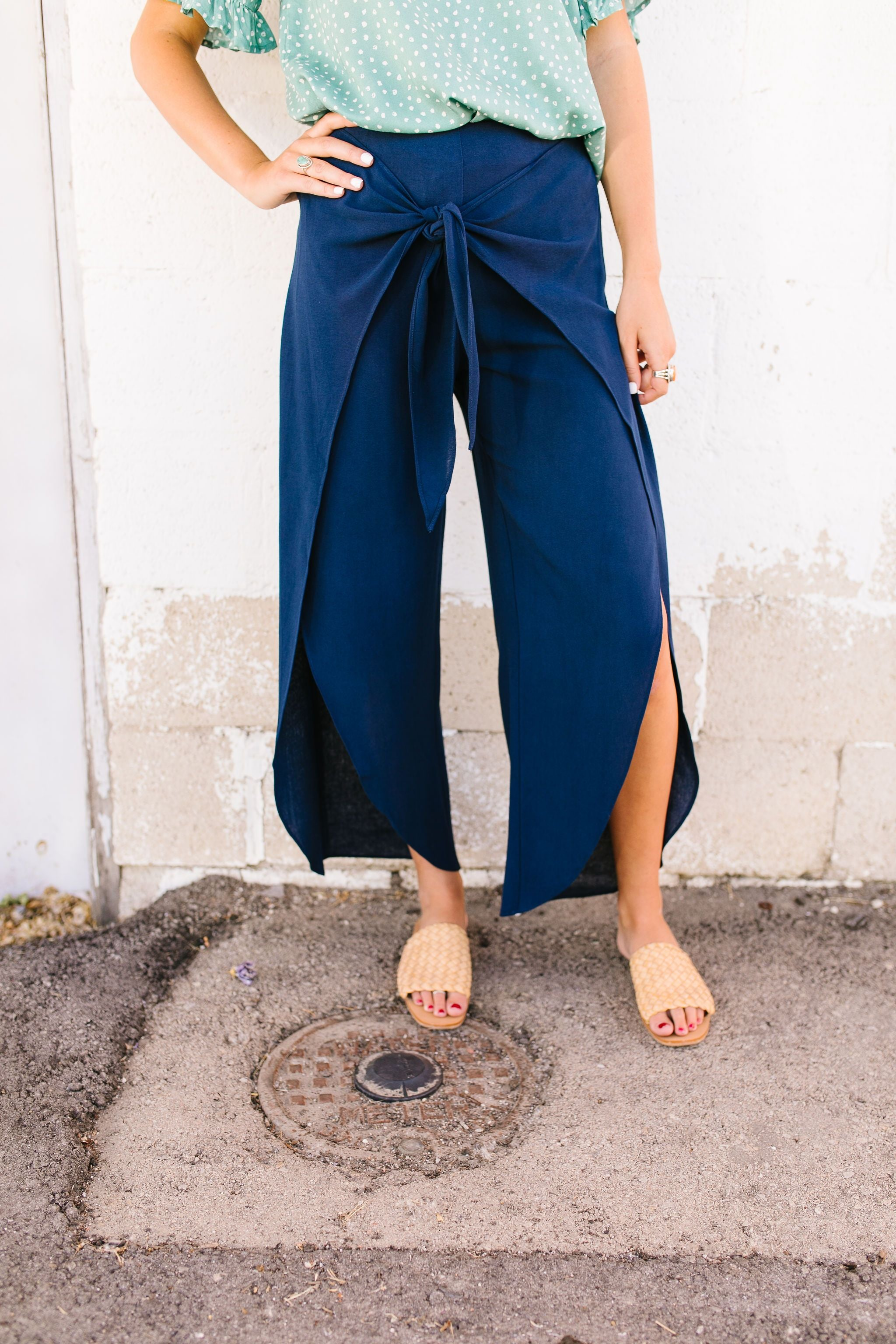 Wrap Fall Up Tie Front Pants In Navy