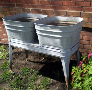 Double Galvanized Wash Tub with Stand