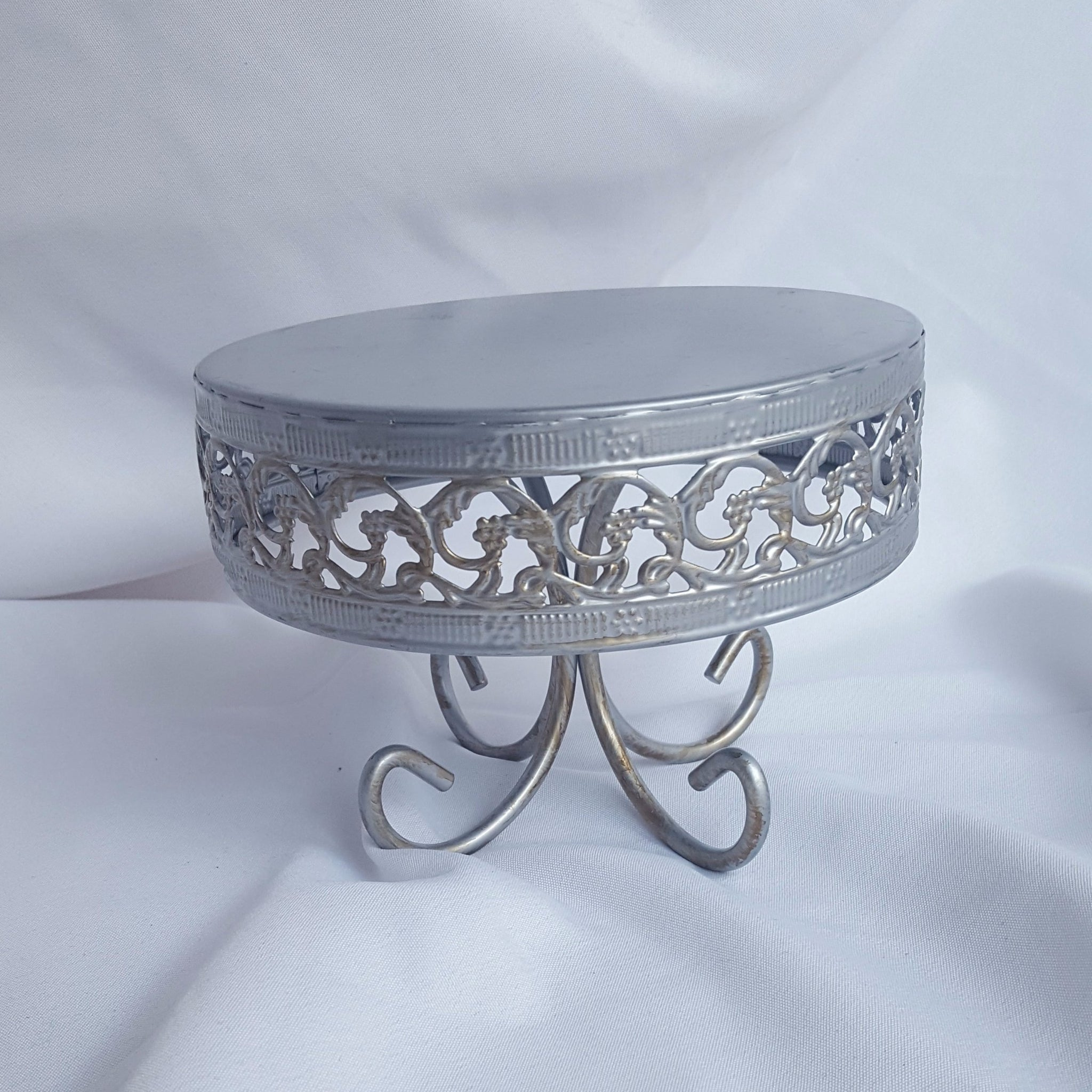 Round Silver Cake Stand