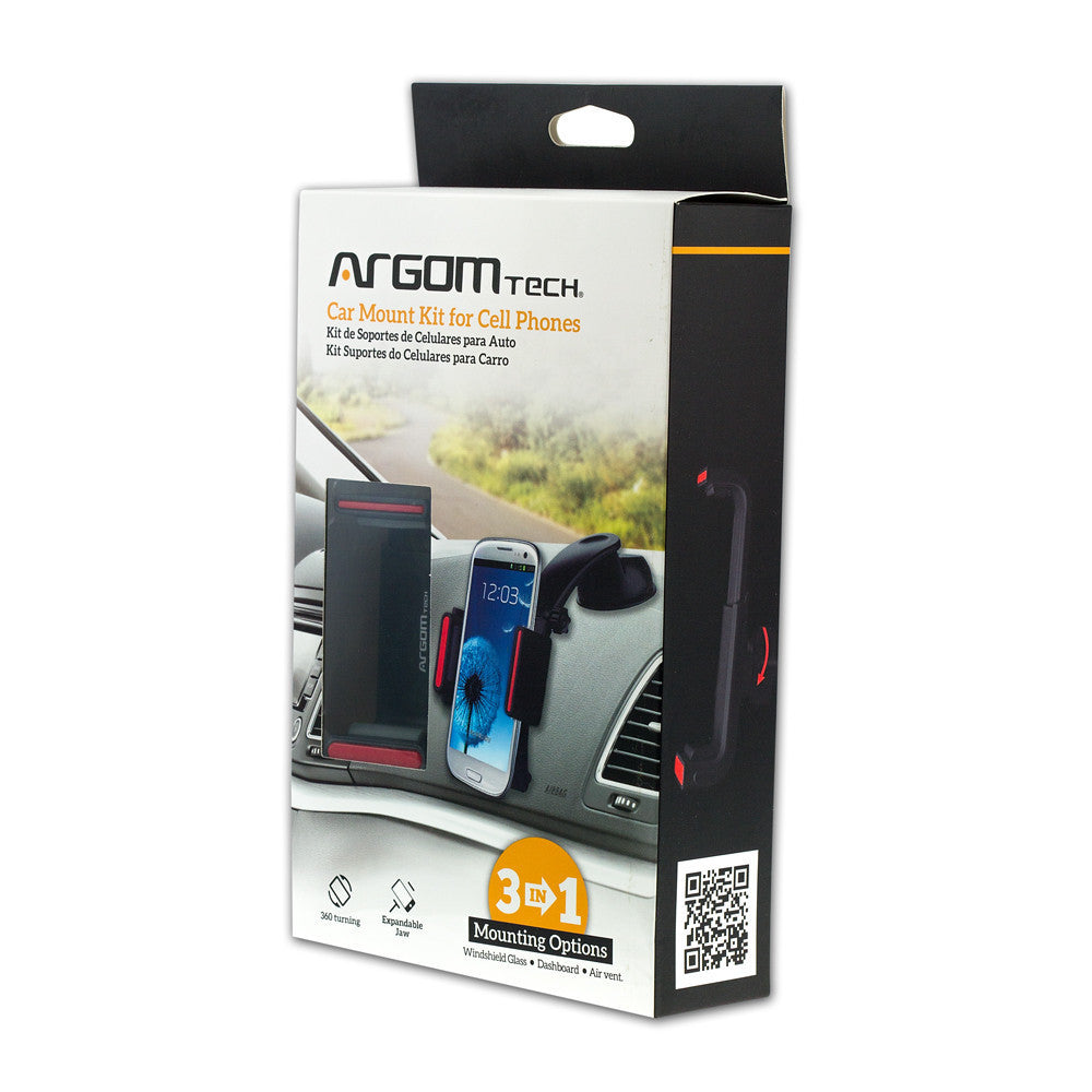 Cell Phone Tablet Accessories Car Holder Magnet Ac Mount Kit For Phones 3 In 1