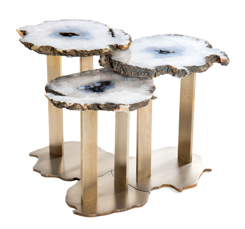 Table - Trio of Agates Coffee Table with Puzzle Base