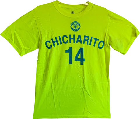 Officially Licensed Manchester United  Chicharito 14 Men's T-Shirt- Neon Yellow