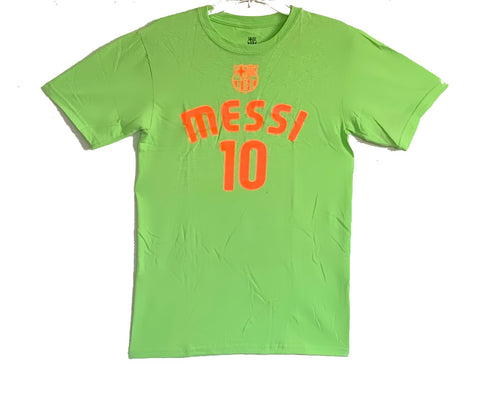 FC Barcelona  Messi 10 Officially Licensed Football Soccer T-Shirt  For Men- Lime