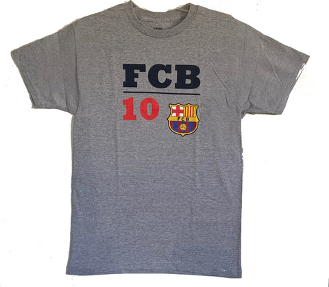 Men FC Barcelona Officially Licensed Soccer T-Shirt Cotton Tee-Grey