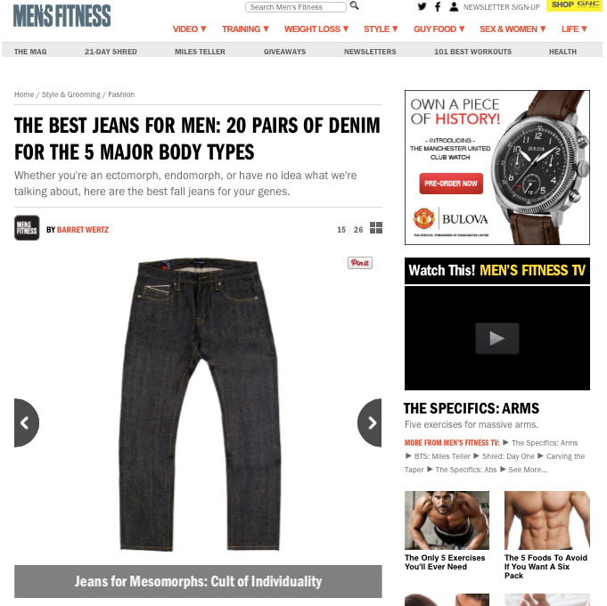Cult Denim Featured on MensFitness.com