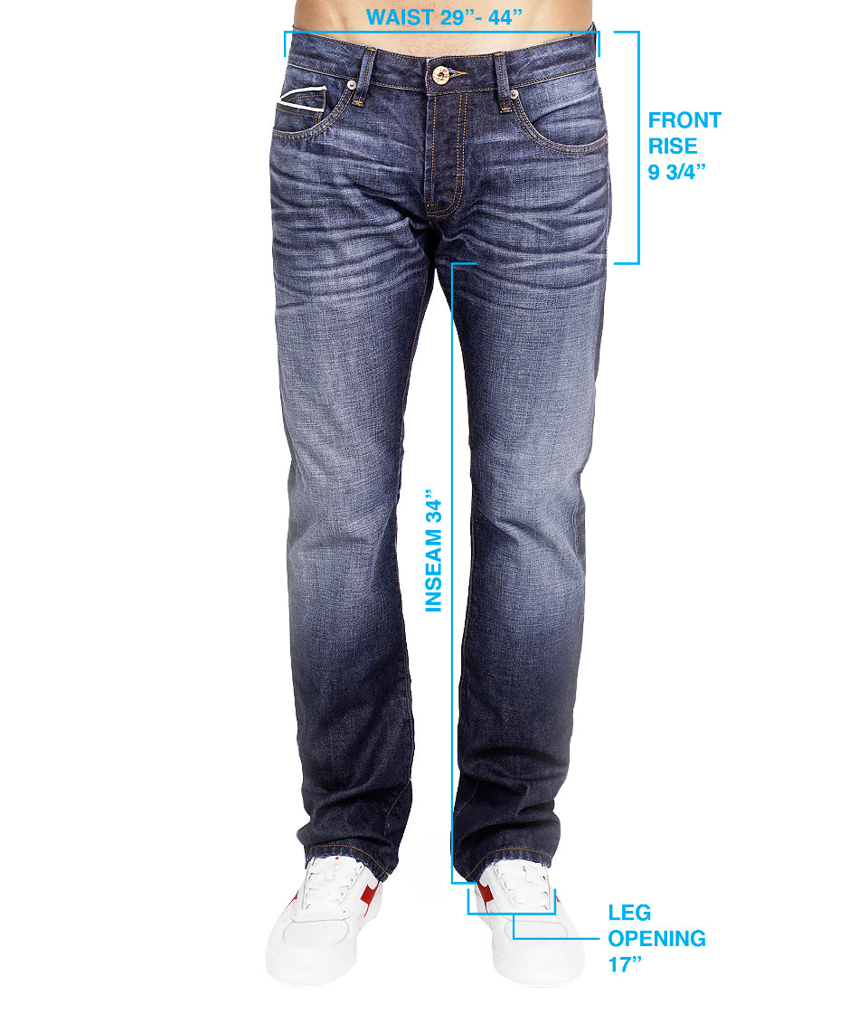 Slimmer, more modern fitting denim jean that follows the leg straight and  thin, tapering down to a skinny ankle.