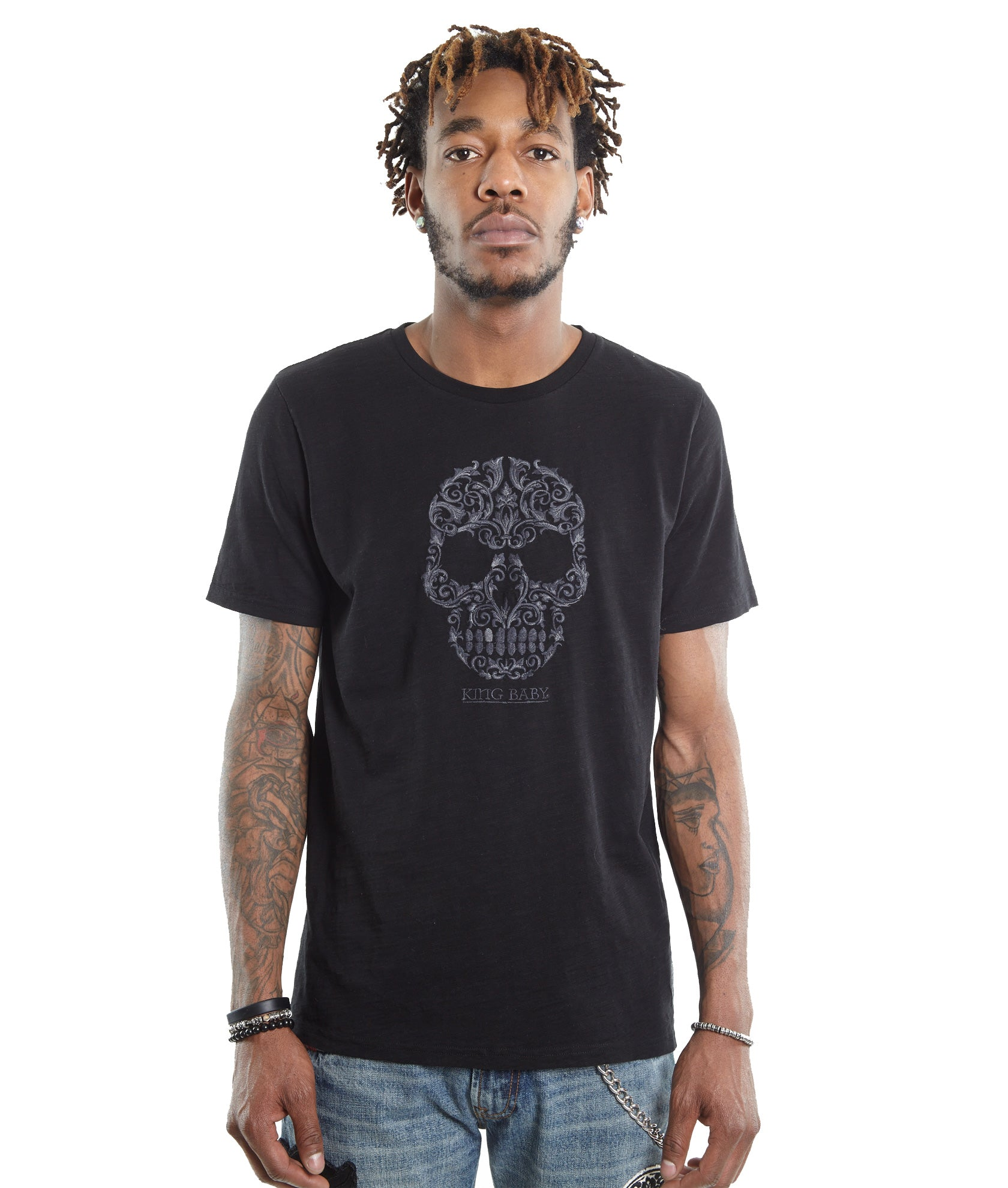 Cult of IndividualityMen's Skull Embroidered King Baby Crew Neck Black T Shirt3XL