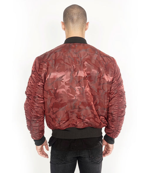 Cult of IndividualityMen's Reversible Bomber Jacket in Burgundy Camo