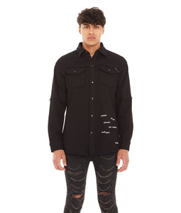 MORRISON DENIM SHIRT STRETCH IN BLACK ACID