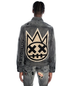 TYPE IV DENIM JACKET W/METAL STUDS IN BLACK ACID
