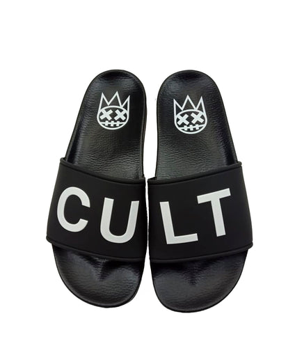 CULT SANDALS IN BLACK /W WHITE SOCKS *PREORDER*