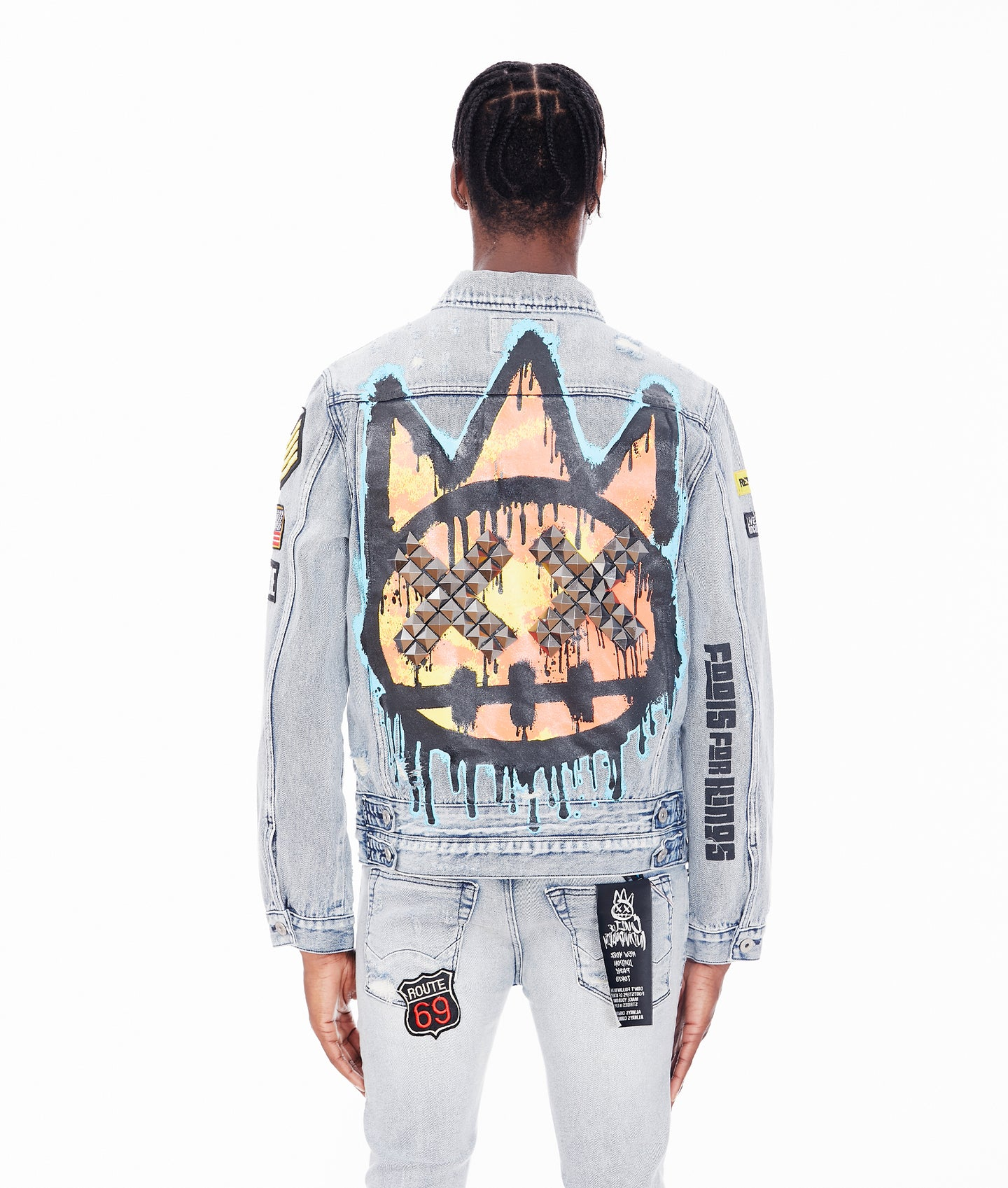 TYPE IV DENIM JACKET WITH DOUBLE CUFF AND WAISTBAND IN GRAFFITI