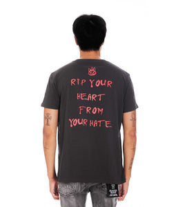 HEART SHORT SLEEVE CREW NECK TEE IN VINTAGE CHARCOAL