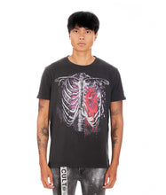 Load image into Gallery viewer, HEART SHORT SLEEVE CREW NECK TEE IN VINTAGE CHARCOAL
