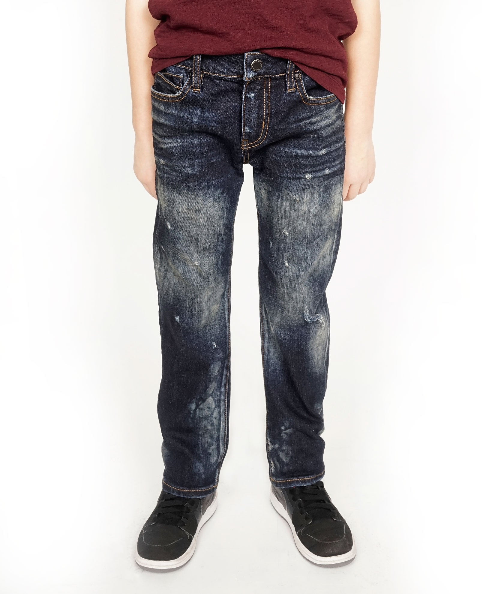 Kid's Rogue Slim Straight Stretch Denim Jeans in Smog${product_sku}