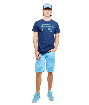 Cult of IndividualityMen's Rebel Denim Shorts in Blue Grotto
