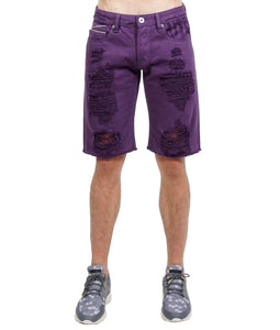 Cult of IndividualityMen's Rebel Denim Shorts in Mulberry