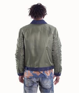 Cult of IndividualityMen's Combo Bomber Jacket in Olive/Denim