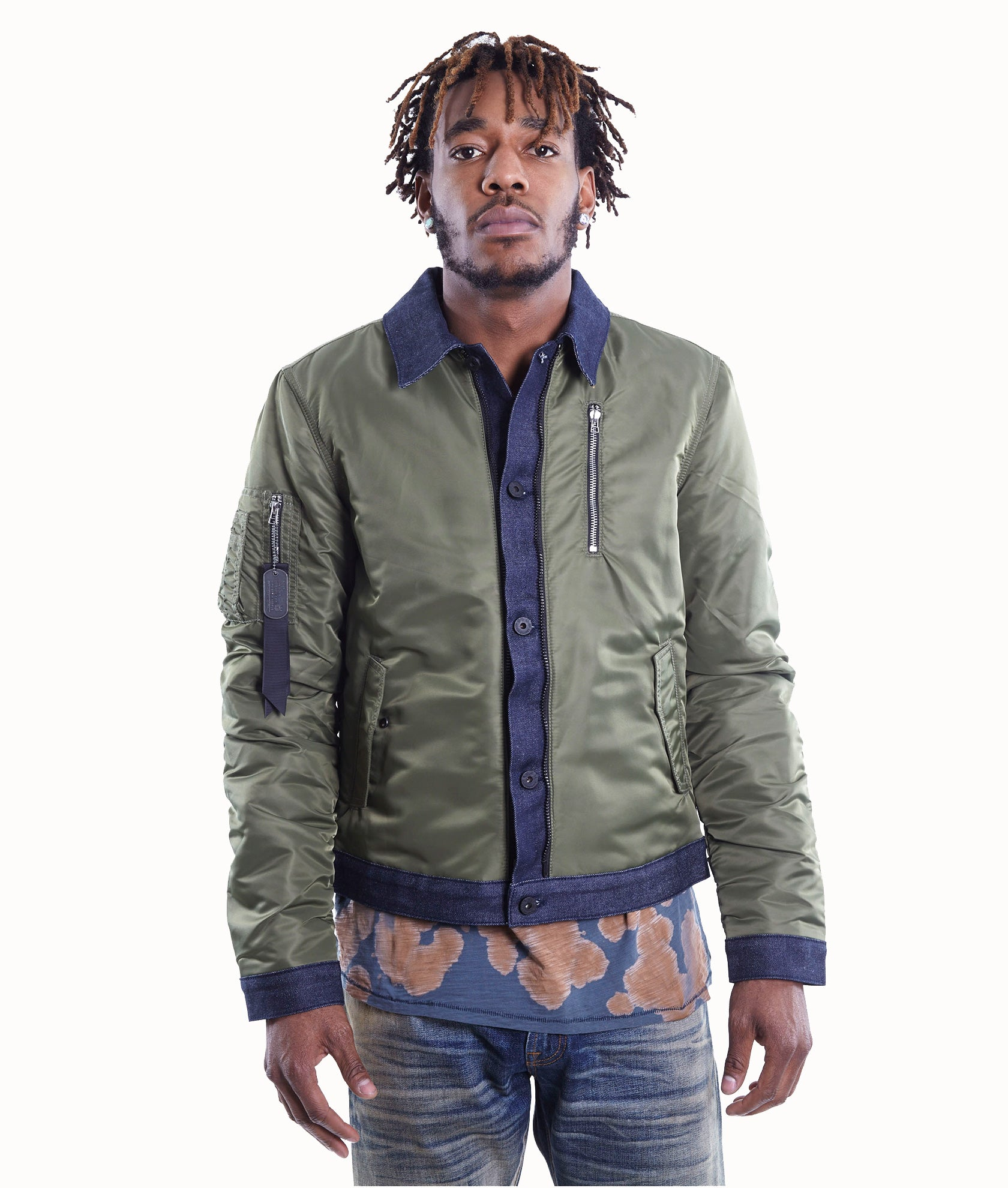 Cult of IndividualityMen's Combo Bomber Jacket in Olive/Denim3XL
