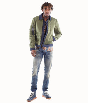 Men's Combo Bomber Jacket in Olive/Denim