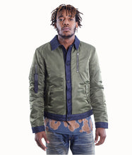 Load image into Gallery viewer, Cult of IndividualityMen's Combo Bomber Jacket in Olive/Denim3XL