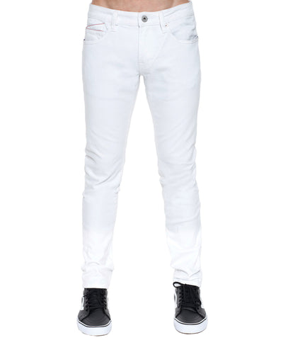 Men's Rocker Slim Premium Stretch Denim Jeans w/Belt in Bleach