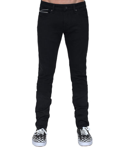 Men's Punk Super Skinny Premium Stretch Denim Jeans in Black