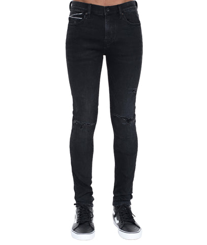 REBEL STRAIGHT STRETCH DENIM JEANS W/BELT IN ROMAN